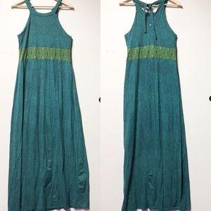 Prana Maxi Dress Tie Back Turquoise Blue Sz L